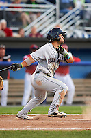 Mahoning Valley Scrappers outfielder Ka'ai Tom (40) at bat during a game against the Batavia Muckdogs on June 23, 2015 at Dwyer Stadium in Batavia, New York.  Mahoning Valley defeated Batavia 11-2.  (Mike Janes/Four Seam Images)