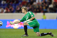 Chicago Fire goalkeeper Andrew Dykstra (40) distributes the ball during the second half of a Major League Soccer match between the New York Red Bulls and the Chicago Fire at Red Bull Arena in Harrison, NJ, on March 27, 2010. The Red Bulls defeated the Fire 1-0.