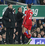 Lucas Leiva of Liverpool talks to Brendan Rodgers manager of Liverpool as he leaves injured - Barclays Premier League - Everton vs Liverpool - Goodison Park Stadium  - Liverpool - England - 7th February 2015 - Picture Simon Bellis/Sportimage