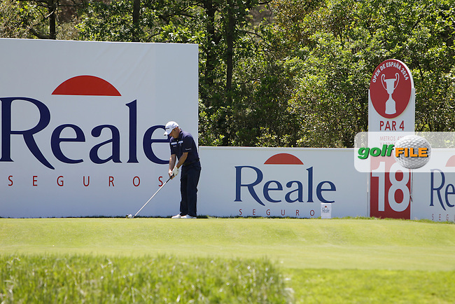 Paul McGinley (IRL) on the 18th tee during the Pro-Am in The Open De Espana at The PGA Catalunya Resort on Wednesday 14th May 2014.<br /> Picture:  Thos Caffrey / www.golffile.ie