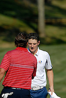 USA Team player Phil Mickelson concedes defeat to Justin Rose after winning his match on the 16th green during the Singles on the Final Day of the Ryder Cup at Valhalla Golf Club, Louisville, Kentucky, USA, 21st September 2008 (Photo by Eoin Clarke/GOLFFILE)