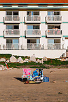 Chairs on the beach of Pismo Beach, California December 22, 2014.
