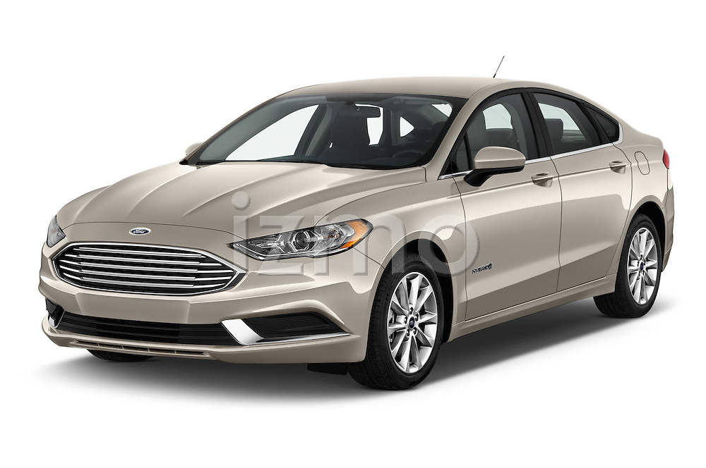 2017 Ford Fusion-Hybrid Hybrid-SE 4 Door Sedan Angular Front stock photos of front three quarter view
