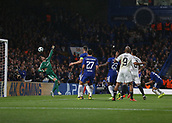 12th September 2017, Stamford Bridge, London, England; UEFA Champions League Group stage, Chelsea versus Qarabag FK; Cesar Azpilicueta of Chelsea heads the ball to score in the 55th minute to make it 3-0