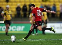 Dan Carter takes a penalty attempt. Super 15 rugby match - Crusaders v Hurricanes at Westpac Stadium, Wellington, New Zealand on Saturday, 18 June 2011. Photo: Dave Lintott / lintottphoto.co.nz