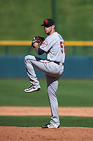 Scottsdale Scorpions pitcher Jake Reed (50) delivers a pitch during an Arizona Fall League game against the Mesa Solar Sox on October 19, 2015 at Sloan Park in Mesa, Arizona.  Scottsdale defeated Mesa 10-6.  (Mike Janes/Four Seam Images)
