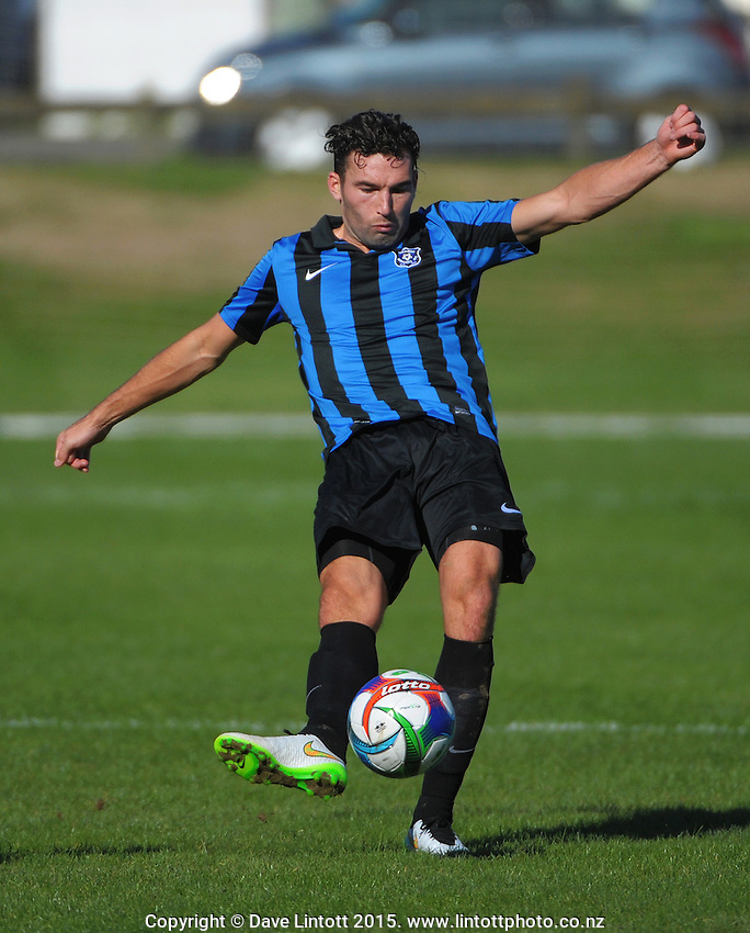 Action from the Central League football match between Lower Hutt United and Miramar Rangers at Fraser Park, Lower Hutt, Wellington, New Zealand on Sunday, 19 April 2015. Photo: Dave Lintott / lintottphoto.co.nz