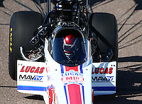Feb 27, 2016; Chandler, AZ, USA; NHRA top fuel driver Richie Crampton during qualifying for the Carquest Nationals at Wild Horse Pass Motorsports Park. Mandatory Credit: Mark J. Rebilas-