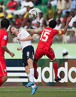 Alex Shinsky heads the ball. US Under-17 Men's National Team defeated United Arab Emirates 1-0 at Gateway International  Stadium in Ijebu-Ode, Nigeria on November 1, 2009.