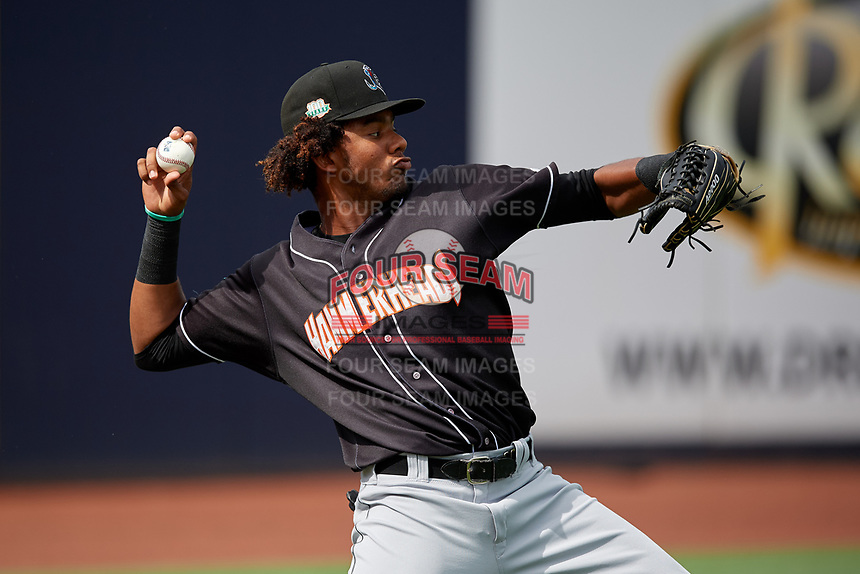 Jupiter Hammerheads outfielder Jerar Encarnacion (45) warms up before a Florida State League game against the Tampa Tarpons on July 26, 2019 at George M. Steinbrenner Field in Tampa, Florida.  Tampa defeated Jupiter 2-0 in the first game of a doubleheader.  (Mike Janes/Four Seam Images)