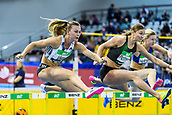 2nd February 2019, Karlsruhe, Germany;  60m Hurdles for women : Nadine Visser (NED, winner), Hanna Plotitsyna (UKR). IAAF Indoor athletics maeeting, Karlsruhe