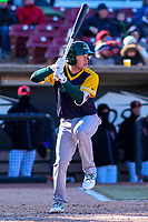 Beloit Snappers shortstop Nick Allen (2) at bat during a Midwest League game against the Wisconsin Timber Rattlers on April 7, 2018 at Fox Cities Stadium in Appleton, Wisconsin. Beloit defeated Wisconsin 10-1. (Brad Krause/Four Seam Images)