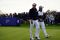 Jordan Spieth (Team USA) and Justin Thomas (Team USA) on the 8th during the friday fourballs at the Ryder Cup, Le Golf National, Iles-de-France, France. 27/09/2018.<br /> Picture Fran Caffrey / Golffile.ie<br /> <br /> All photo usage must carry mandatory copyright credit (© Golffile | Fran Caffrey)