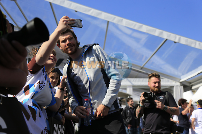 Luke Rowe (WAL) Team Sky at the Team Presentation for the upcoming 115th edition of the Paris-Roubaix 2017 race held in Compiegne, France. 8th April 2017.<br /> Picture: Eoin Clarke | Cyclefile<br /> <br /> <br /> All photos usage must carry mandatory copyright credit (&copy; Cyclefile | Eoin Clarke)