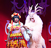 Beauty &amp; The Beast <br /> at Theatre Royal Stratford East <br /> London, Great Britain <br /> press photocall <br /> 9th December 2014 <br /> <br /> Helen Aluko as Beauty <br /> <br /> Vlach Ashton as Beast <br /> <br /> <br /> <br /> <br /> <br /> Photograph by Elliott Franks <br /> Image licensed to Elliott Franks Photography Services