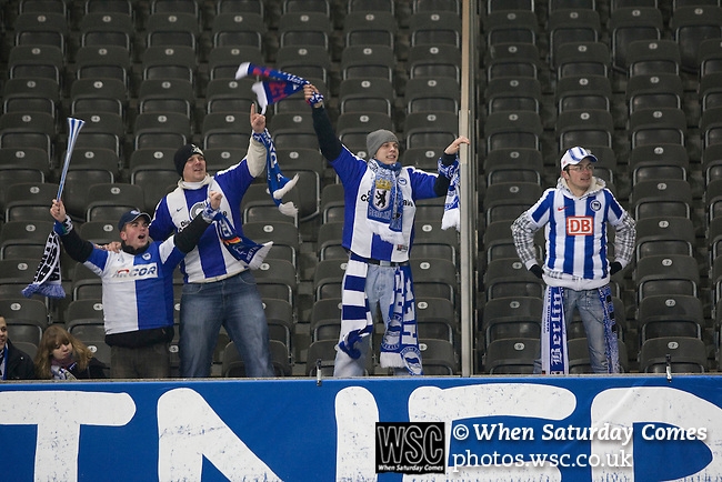 A group of home fans celebrating Gojko Kacar's winning goal for Hertha Berlin in their match against  Sporting Lisbon at the Olympic Stadium in Berlin in the group stages of the UEFA Europa League. Hertha won the match by 1 goal to nil to press to the knock-out round of the cup. 2009/10 was the the first year in which the Europa League replaced the UEFA Cup in European football competition.