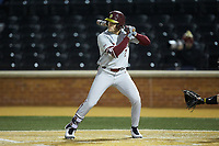 Jackson Lueck (2) of the Florida State Seminoles at bat against the Wake Forest Demon Deacons at David F. Couch Ballpark on March 9, 2018 in  Winston-Salem, North Carolina.  The Seminoles defeated the Demon Deacons 7-3.  (Brian Westerholt/Four Seam Images)