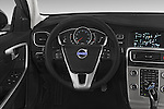 Car pictures of steering wheel view of a 2015 Volvo V60 Summum 5 Door Wagon