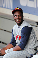 Toledo Mudhens third baseman Audy Ciriaco #16 in the dugout before a game against the Empire State Yankees at Frontier Field on May 30, 2012 in Rochester, New York.  Empire State defeated Toledo 5-2.  (Mike Janes/Four Seam Images)