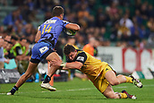 June 3rd 2017, NIB Stadium, Perth, Australia; Super Rugby; Force v Hurricanes;  Ricky Riccitelli of the Hurricanes dives for a tackle on James Verity-Amm of the Western Force