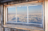 The field of stack ice on Lake Superior looks impressive through the eyes of the shack at Stoney Point.