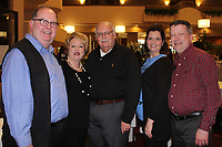 NWA Democrat-Gazette/CARIN SCHOPPMEYER Keith Hatfield (from left), Jackie and Sumner Brashears and Christina and Steven Hinds visit at the Ozark Guidance Foundation Walk a Mile BIP Presale Party on April 5 at the Northwest Arkansas Holiday Inn in Springdale.