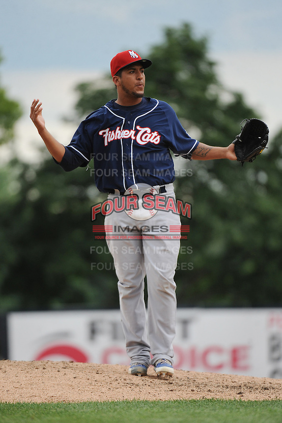 New Hampshire Fisher Cats pitcher Gregory Infante (43) during game against the Trenton Thunder at ARM & HAMMER Park on June 22, 2014 in Trenton, NJ.  New Hampshire defeated Trenton 7-2.  (Tomasso DeRosa/Four Seam Images)