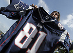 (Foxboro 070613) Melissa Garcia of the Bronx NY who came all the way from New York to return her 81 jersey during an exchange of Aaron Hernandez jerseys Saturday at the pro shop at Gillette Stadium in Foxboro.  (Jim Michaud Photo) For Sunday