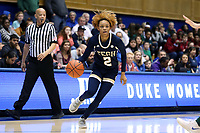 DURHAM, NC - JANUARY 26: Jasmine Carson #2 of Georgia Tech dribbles the ball during a game between Georgia Tech and Duke at Cameron Indoor Stadium on January 26, 2020 in Durham, North Carolina.