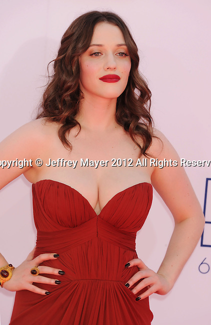 LOS ANGELES, CA - SEPTEMBER 23: Kat Dennings arrives at the 64th Primetime Emmy Awards at Nokia Theatre L.A. Live on September 23, 2012 in Los Angeles, California.