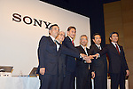 April 12, 2012, Tokyo Japan - .Sony Corp's new president and CEO Kazuo Hirai, (3rd L), poses for photographers during media conference in Tokyo on Thursday, April 12, 2012. Hirai delivered strategic and financial targets for the coming three years. Sony planed to cut 10,000 jobs worldwide over the next year its global workforce, and try to turn around its money-losing TV business. (Photo by Koichi Mitsui/AFLO) -tm-