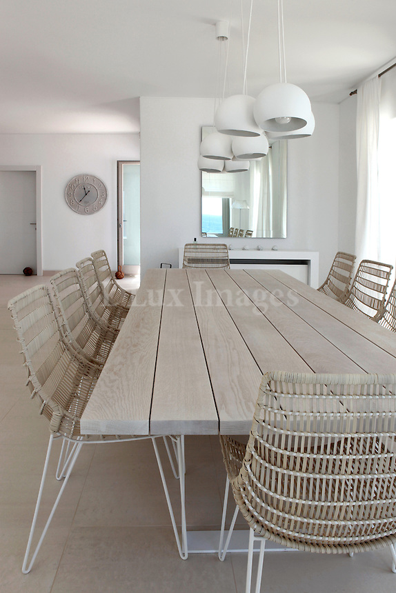 white minimal dining room