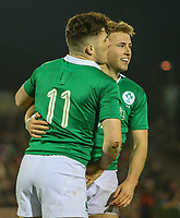Ireland U20's Jonny Stewart congratulates Calvin Nash after he scored the game's first try<br /> <br /> Photographer Alex Dodd/CameraSport<br /> <br /> RBS Six Nations U20 Championship Round 4 - Wales U20s v Ireland U20s - Saturday 11th March 2017 - Parc Eirias, Colwyn Bay, North Wales<br /> <br /> World Copyright &copy; 2017 CameraSport. All rights reserved. 43 Linden Ave. Countesthorpe. Leicester. England. LE8 5PG - Tel: +44 (0) 116 277 4147 - admin@camerasport.com - www.camerasport.com