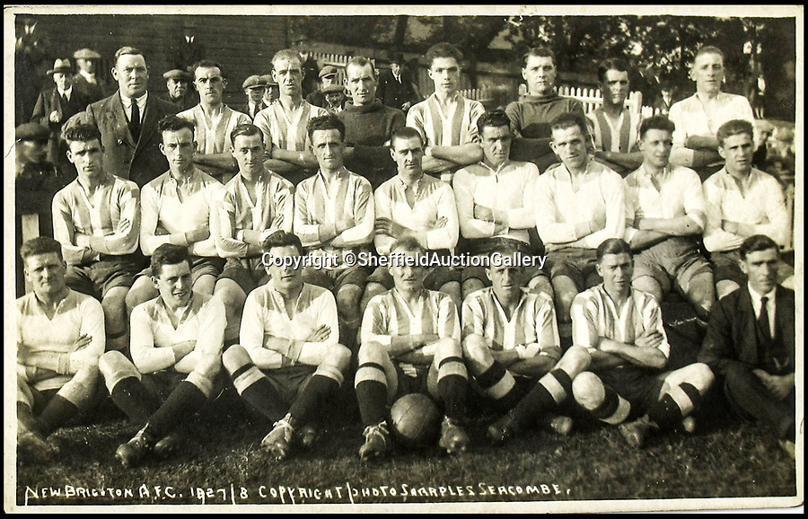 BNPS.co.uk (01202 558833)Pic: SheffieldAuctionGallery/BNPSFreddie in the New Brighton team in 1927.<br /> <br /> The story of the first ever transfer deadline day scandal can be told after a 1920s journeyman footballer's personal affairs were unearthed.<br /> <br /> Fred Laycock played for 12 clubs in his 16 year career but it was his contentious move from Barrow to rivals Nelson on March 16, 1925 which sparked a furore.<br /> <br /> Laycock had enjoyed a stellar season at Football League Third Division North side Barrow, scoring 10 goals in 31 league matches.<br /> <br /> However, the club were paying him a paltry £4 -  £120 in today's money - so he had to top up his wages by working in a local shipyard.
