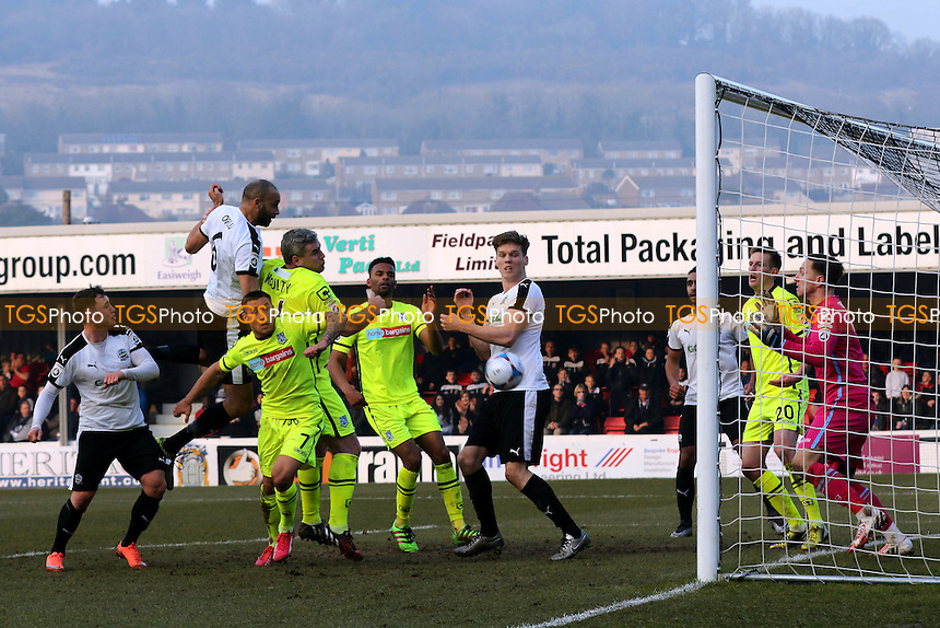 Dover's Richard Orlu heads the ball towards the Tranmere goal during Dover Athletic vs Tranmere Rovers, Vanarama National League Football at the Crabble Athletic Ground on 12th March 2016
