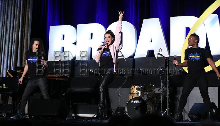 "Jordan Fife Hunt, Lesli Margherita and Tanisha Moore from ""Emojiland"" during the BroadwayCON 2020 First Look at the New York Hilton Midtown Hotel on January 24, 2020 in New York City."