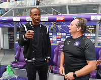 20190810 - ANDERLECHT, BELGIUM : Anderlecht's men's team head coach Vincent Kompany pictured talking to the Women's head coach Patrick Wachel after the female soccer game between the Belgian RSCA Ladies – Royal Sporting Club Anderlecht Dames  and the Norwegian LSK Kvinner Fotballklubb ladies , the second game for both teams in the Uefa Womens Champions League Qualifying round in group 8 , saturday 10 th August 2019 at the Lotto Park Stadium in Anderlecht  , Belgium  .  PHOTO SPORTPIX.BE for NTB NO | DAVID CATRY