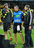 Assistant coaches Jason Hollland (left), Richard Watts and John Plumtree (right) after the Super Rugby final match between the Hurricanes and Lions at Westpac Stadium, Wellington, New Zealand on Saturday, 6 August 2016. Photo: Dave Lintott / lintottphoto.co.nz