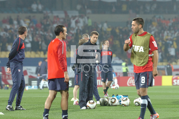 U.S. assistant coach Mike Sorber watches warm-ups intently prior to his team's debut in the 2010 FIFA World Cup. The U.S. and England played to a 1-1 draw in the opening match of Group C play at Rustenburg's Royal Bafokeng Stadium, Saturday, June 12th.