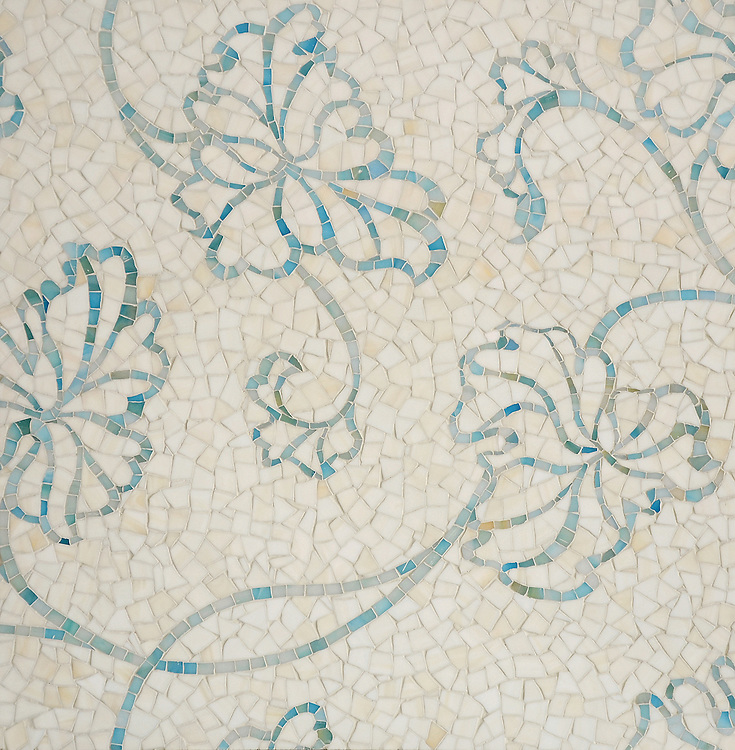 Folia, a hand-cut mosaic, shown in Quartz and Aquamarine Sea Glass™, is part of the Sea Glass™ Collection by New Ravenna.