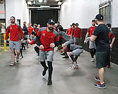 Anthony Moccia (BU - 1) - The Boston University Terriers warmed up prior to the Frozen Four final at TD Garden on Saturday, April 11, 2015, in Boston, Massachusetts.