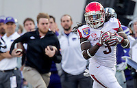 NWA Democrat-Gazette/JASON IVESTER <br /> Arkansas vs Kansas St, Liberty Bowl<br /> Arkansas running back Alex Collins (3) carries the ball on a return during the first quarter on Saturday, Jan. 2, 2016, at the Liberty Bowl in Memphis, Tenn.
