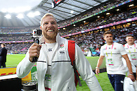 James Haskell takes a video of fans before Match 1 of the Rugby World Cup 2015 between England and Fiji - 18/09/2015 - Twickenham Stadium, London <br /> Mandatory Credit: Rob Munro/Stewart Communications
