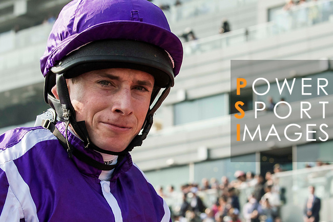 Jockey Ryan Moore riding Highland Reel celebrates after winning the Longines Hong Kong Vase (G1, 2400m) during the Longines Hong Kong International Races at Sha Tin Racecourse on December 10 2017, in Hong Kong, Hong Kong. Photo by Victor Fraile / Power Sport Images