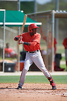 GCL Nationals third baseman Juan Pascal (19) at bat during the first game of a doubleheader against the GCL Marlins on July 23, 2017 at Roger Dean Stadium Complex in Jupiter, Florida.  GCL Nationals defeated the GCL Marlins 4-0.  (Mike Janes/Four Seam Images)