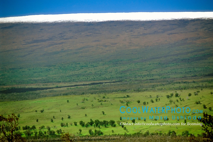 Mauna Loa volcanic mountain with snow on summit, Hawaii Volcanoes National Park, Kilauea, Big Island, Hawaii
