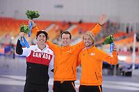 OLYMPICS: SOCHI: Adler Arena, 12-02-2014, 1000m Men, podium, Denny Morrison (CAN),  Stefan Groothuis (NED), Michel Mulder (NED), ©foto Martin de Jong