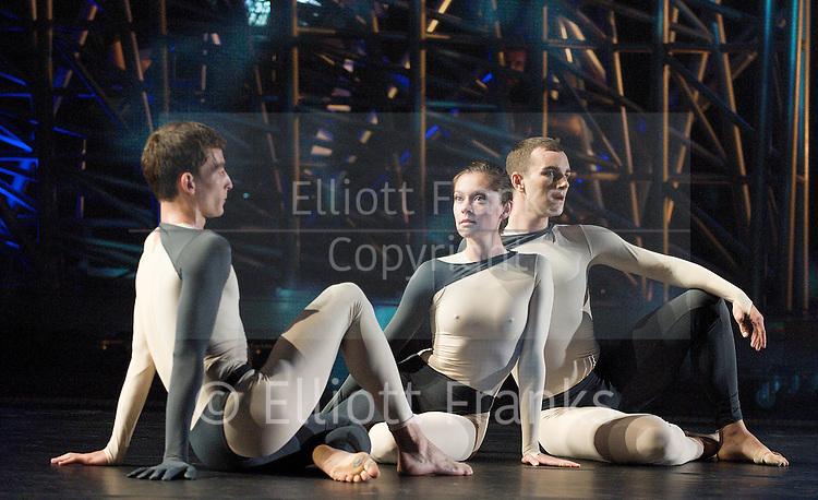 Nearly Ninety<br /> The Merce Cunningham Dance Company <br /> choreography by Merce Cunningham<br /> at The Barbican Theatre, London, Great Britain <br /> rehesrsal <br /> 26th October 2010 <br /> <br /> <br /> <br /> <br /> Dylan Crossman<br /> Melissa Toogood<br /> Brandon Collwes<br /> <br /> <br /> Photograph by Elliott Franks<br /> 2010&copy;Elliott Franks