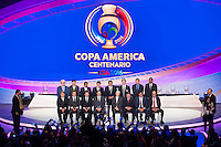 NEW YORK, NY - Sunday February 21, 2016: The Copa America Centenario draw ceremony takes place at the Hammerstein Ballroom in midtown Manhattan, New York City.