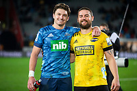 14th June 2020, Aukland, New Zealand;  Blues Beauden Barrett and Hurricanes Dane Coles embrace after the Investec Super Rugby Aotearoa match, between the Blues and Hurricanes held at Eden Park, Auckland, New Zealand.